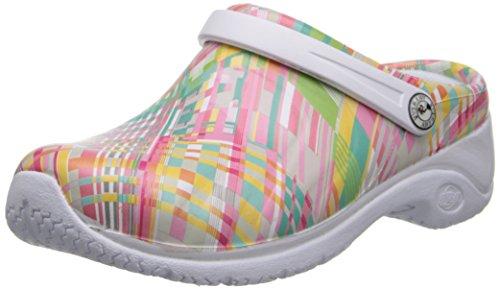 Plaid Slip Shoes (AnyWear Women's Zone Clog, Peaceful Plaid, 6 M US)
