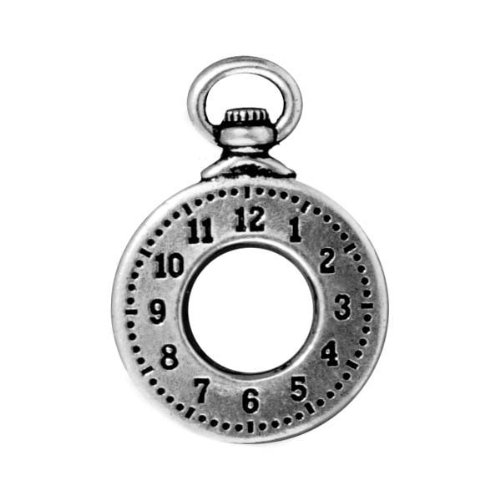 - TierraCast Clock Charms, 29mm, Antiqued Fine Silver Plated Pewter, 2-Pack