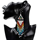 Product review for Native Beaded Earrings Native America Indian Jewelry Native Beadwork Native Earrings Native Americans Jewelry Boho Long Earrings for Women