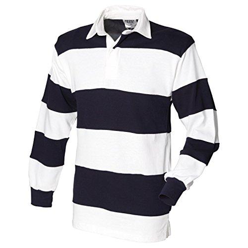 Front Row Herren Rugby-Shirt FR8 genäht, Streifen weiß/blau/weiß, XL