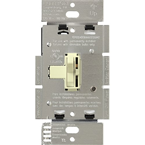Dimmer Pole Voltage Single Low - Lutron Toggler Magnetic Low Voltage Dimmer Switch, Single-Pole, AYLV-600P-AL, Almond