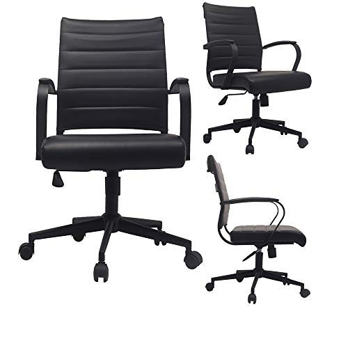 2xhome - Black- Modern Mid Back Ribbed PU Leather Swivel Tilt Adjustable Chair Designer Boss Executive Management Manager Office Chair Conference Room Work Task Computer ... (All Black)