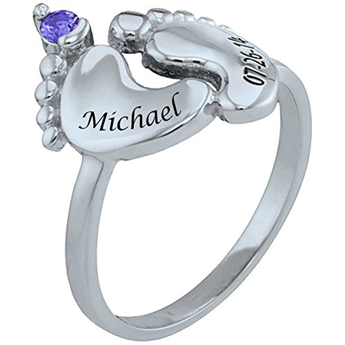 Ouslier 925 Sterling Silver Personalized Baby Feet Ring with Birthstone Custom Made with Name and Date (Silver) (With Feet Rings Baby)