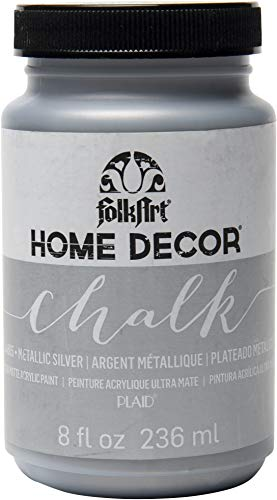 FolkArt 34805 Home Decor Chalk Furniture & Craft Paint in Assorted Colors, 8 ounce, Metallic Silver from FolkArt