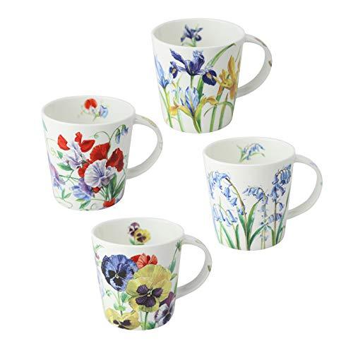 Grace Teaware Bone China Coffee Tea Mugs 16-Ounce, Assorted Set of 4 (Purple Blue Floral) (Tall Bone China Mug)