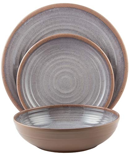amine Dinnerware Set (Clay Collection) | Shatter-Proof and Chip-Resistant Melamine Plates and Bowls | Color: Light Grey | Dinner Plate, Salad Plate & Soup Bowl (4 Each) ()