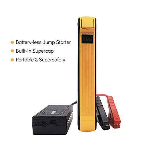 (autowit 12V Portable Batteryless Car Jump Starter, Supercap Booster Pack (for 5.0L Gas/3.0L Diesel Engine), 700A Peak /600A Instant, Supersafety, Orange)