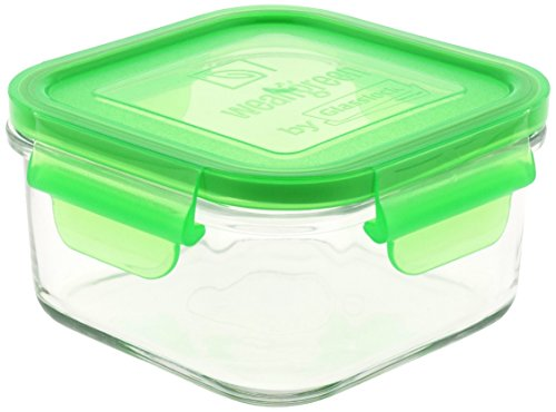 (Wean Green Glass Food Storage Containers, Lunch Cube 16 ounces, Pea)