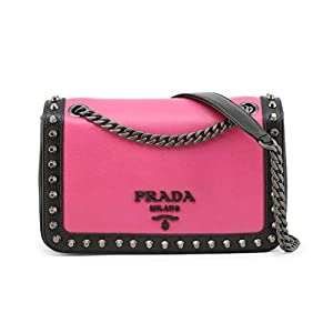 Prada Pattina Pink/Black Glace Leather Studded Trim Crossbody Handbag