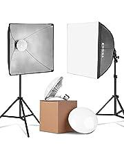 ESDDI LED Softbox Set Fotostudio 2x50x50cm Studioleuchten- Set mit Lichtstativen und 2x6500K 900W energiesparende Fotolampen mit sofortiger Helligkeit ohne Wartezeit