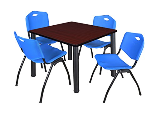 """Kee 36"""" Square Breakroom Table- Mahogany/ Black & 4 'M' Stack Chairs- Blue"""