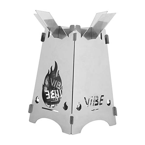 """GOOD VIBE CAMP Folding Stove - Bushcraft Survival Lightweight Stove / 6.6""""x4.5"""" Small Portable Size in Durable Canvas Case/Solo Backpacking Cozy Wood-Burning Camping Traveling Hiking"""