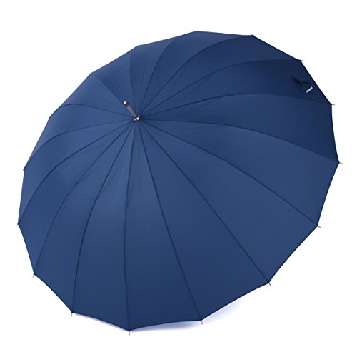 Rainbrace 60 Zoll lang groß winddicht reisen Regenschirm Golfschirm Umbrella mit 16 Glas Faser Rippen (Blau)
