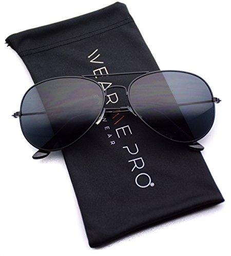 WearMe Pro - Classic Cop Metal Standard Aviator Sunglasses - Dark Lens