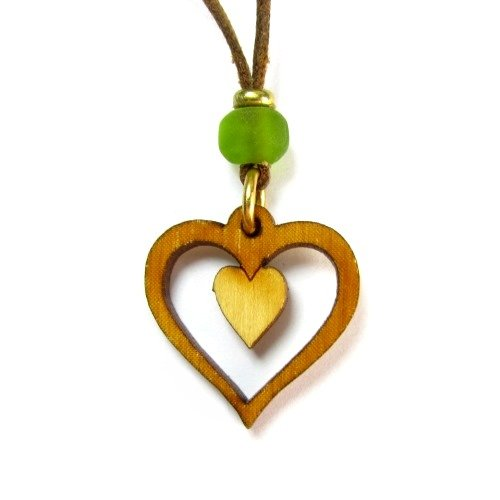 Organic Birch Tree Double Heart Pendant on Adjustable Waxed Linen Cord
