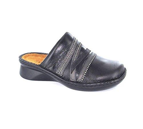 NAOT Women's Lyric Mule, Black Madras Leather/Metallic Road Leather/Black Sequin Nubuck, 36 EU/5-5.5 M US (Beaded Leather Mules)