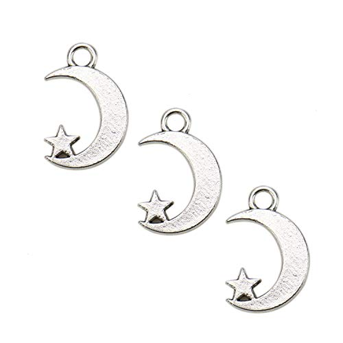 JETEHO About 80 Pcs Silver Antique Moon and Star Charms Celestial Charms for Jewelry Making Necklace Earrings