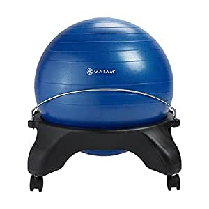 Gaiam Classic Backless Balance Ball Chair – Exercise Stability Yoga Ball Premium Ergonomic Chair for Home and Office Desk with Air Pump, Exercise Guide and Satisfaction Guarantee, Blue