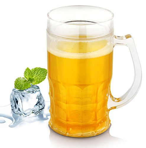 Design Double Wall Frosty Plastic Beer Mug Freezer Clear Ice Insulated Chillable Beer Filled Illusion ()