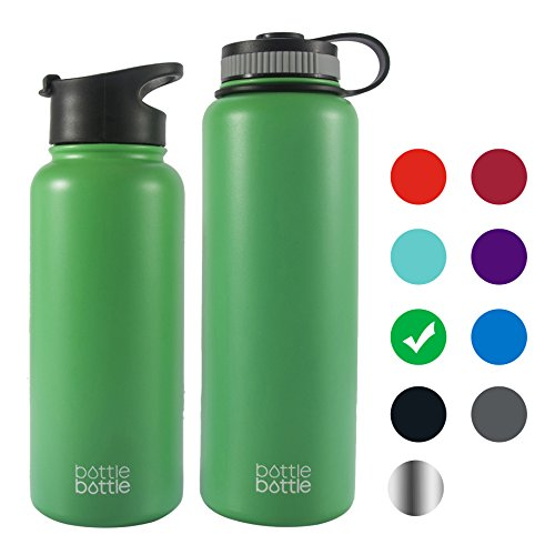 Bottlebottle 32 oz Insulated Stainless Steel Water Bottle with Bonus Lid, Double Wall Vacuum Sealed Flask, Wide Mouth, BPA Free, Cold 24 Hrs / Hot 12 Hrs - Spring Mint Green