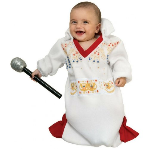Infant Elvis Halloween Costumes (Elvis Baby Bunting Costume, White/Red, Newborn)
