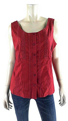 Empire Stretch Lace-Inset Sleeveless Tank Blouse Burgundy/Red Top