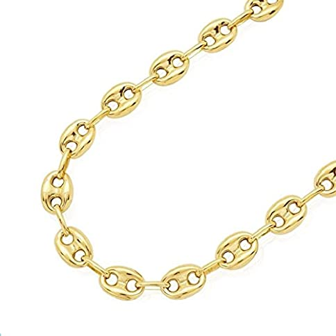 - 41qAlePK23L - 14K SOLID Yellow Gold 7.8MM Puff Mariner/Marina Chain Bracelet or Necklace – Puff Anchor chain