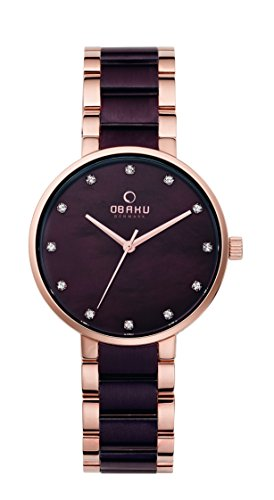 Obaku Women's 34mm Two Tone Steel Bracelet Steel Case Quartz Brown Dial Analog Watch V189LXVNSA