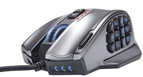 UtechSmart Venus 50 to 16400 DPI High Precision Laser MMO Gaming Mouse with Vacuum Plating Version, 18 Programmable Buttons, Weight Tuning Cartridge, 12 Side Buttons, 5 programmable user profiles, Omron Micro Switches, Over 16 Million Customizing LED Color Options [18-Month Manufacturer's Warranty]