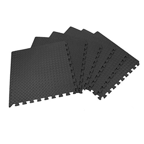 Eva Contrasting Foam - Nexttechnology Foam Mats 6 PCS Eva Rubber Gym Flooring Exercise Sport Mat Home Interlocking Puzzle Floor Mats (Black, 6 PCS)