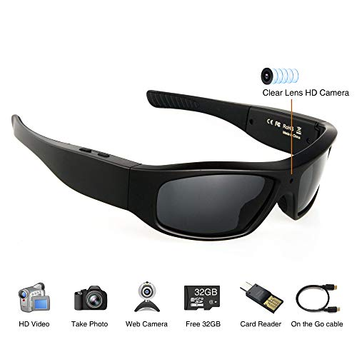 Wearable Camera Glasses 32GB Video Sunglasses HD 720P Video Glasses for Android Smartphone TR90 Glasses Frame with Polarized UV400 ()