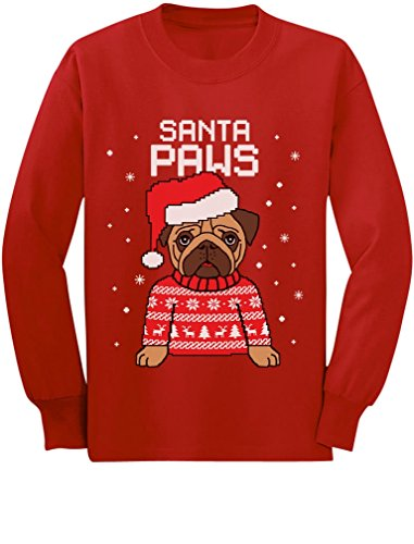 Santa Paws Pug Ugly Christmas Sweater Dog Toddler/Kids Long Sleeve T-Shirt 5/6 Red