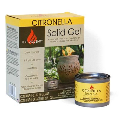 OutDoozie Fire Accent Citronella Solid Gels, Pack of 6 - Gel Cooled