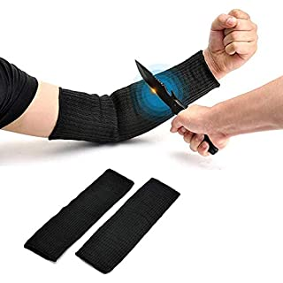 Arm Protection Sleeve, Cut Resitant 40cm Burn Resistant Anti Abrasion Safety Arm Guard for Garden Kitchen Yark Work 1 Pair (Black)
