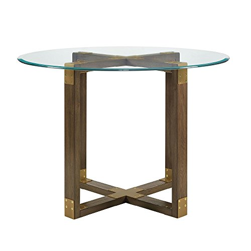 Dorel Living Bronx Glass Top Dining Table, Rustic Oak