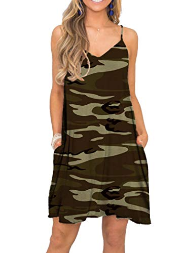 (MISFAY Women's Summer Spaghetti Strap Casual Swing Tank Beach Cover Up Dress with Pockets (S, Brown Camouflage))