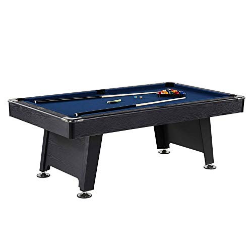 Thornton 7 Foot Billiard Game Room Table with Accessories – Includes Billiard Cues, Balls, Triangle, Chalk and Brush