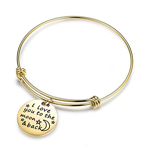 Wire Plated Gold Charm Bangle-I Love You to the Moon and Back Stainless Steel Ajustable Bangle Bracelet for Women