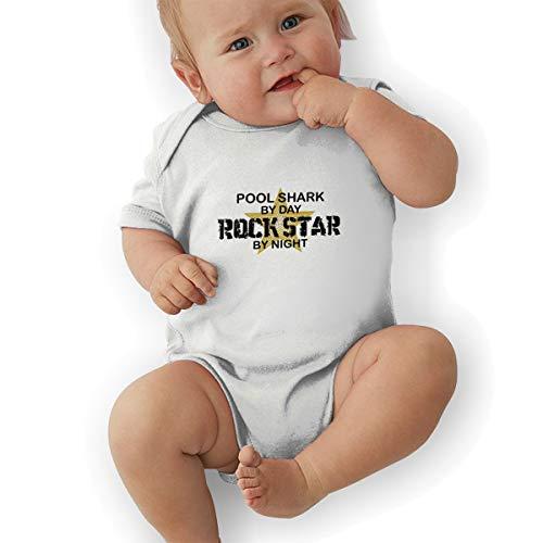 Hhyingb Pool Shark Rock Star by Night Childs Lovely Jersey Short Sleeve Bodysuit 2T White ()