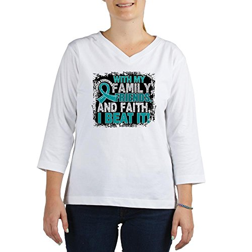 CafePress - Ovarian Cancer Survivor Familyf - Women's Cotton Baseball Jersey, 3/4 Raglan Sleeve Shirt White