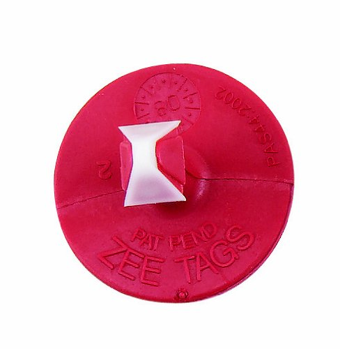Z Tags 25 Count 2-Piece Blank Tags for Male Calves, Red