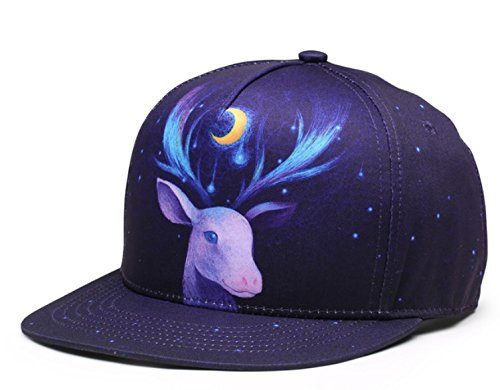 Boushi Deer Print Design Snapback Premium Cap Hip Hop Cap Flat Cap New Year  Party cap 3D Print Collection Free Size  Amazon.in  Clothing   Accessories 17ed8a04b4a