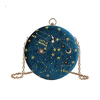 """Small Crossbody Bags for Women Round Clutch with Chain Strap Cell Phone Purse Hand Bag for Ladies Shoulder Messenger Bags Blue Size: 7.4""""(H) x 2.3""""(L) x 7.4""""(W)"""