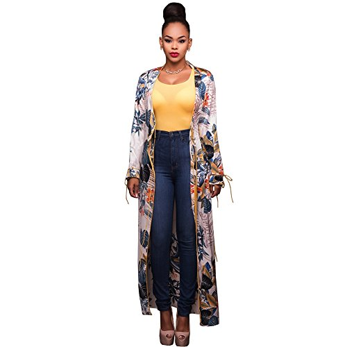 Womens Open Front Long Sleeve Floral Print Long Cardigan Coat Jacket Outwear Print - Coat Womens Floral Trench
