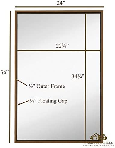 Clean Large Modern Copper Circle Frame Wall Mirror Contemporary Premium Silver Backed Floating Round Glass Panel Vanity, Bedroom, or Bathroom Hanging Renewed