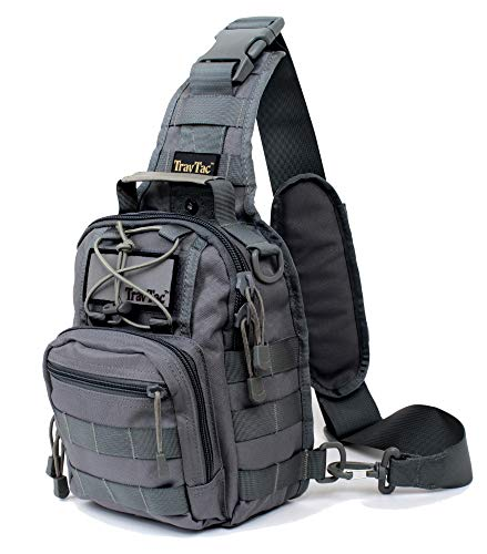 TravTac Stage II Small Sling Bag, Premium Everyday Carry Tactical Sling Pack 900D (Slate Gray) (Best Active Shooter Bag)