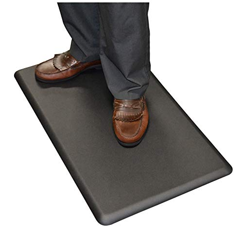 "NewLife by GelPro Anti Fatigue Mat: Eco-Pro Foam Anti-Fatigue Comfort Mat - Standing Desk Pad - Professional Floor Mats for Commercial & Industrial Work - 18"" x 30"" Non Slip Ergonomic Mat - Black by NewLife by GelPro (Image #2)"