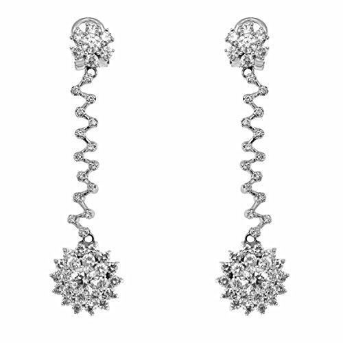 Superstar Boucles d'Oreilles Femme en Or 18 carats Blanc avec Diamant H/VS (total diamants 5.50 ct), 13 Grammes