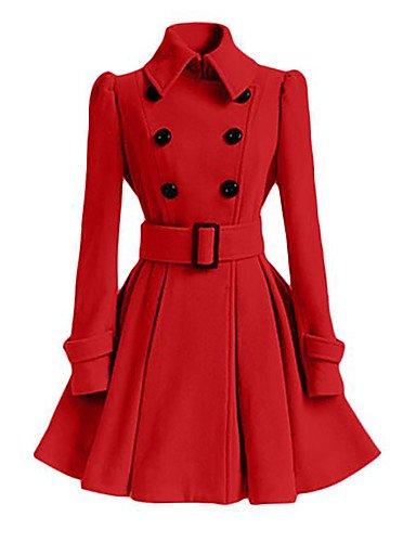 女性と 039 ; s外出プラスサイズのシンプルな秋冬のコート、立体ショールラペル長袖ロングポリエステルナイロン,xl,ワイン B0784LN1FB
