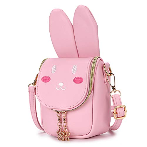 Hipiwe Little Girl Purse Cute PU Leather Bunny Ears Purse Fashionable Kids Handbag Crossbody Bag Toddlers Shoulder Bags with Bowknot for Children (Pink Rabbit)]()